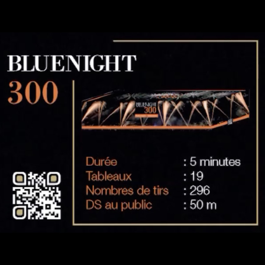 Bluenight 300 - Feu d'artifice automatique prêt à tirer